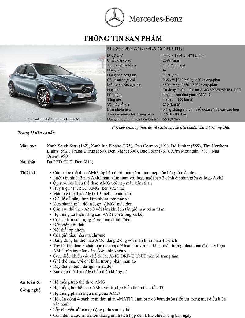 Thông số kỹ thuật xe Mercedes Benz GLA45 AMG 4Matic 01