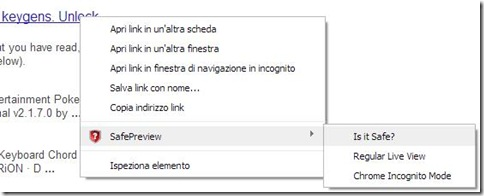 Safe Preview nel menu contestuale del mouse