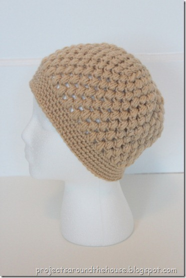 Crochet puff stitch beanie hat free pattern