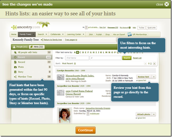 Ancestry.com.... has added a list of all hints