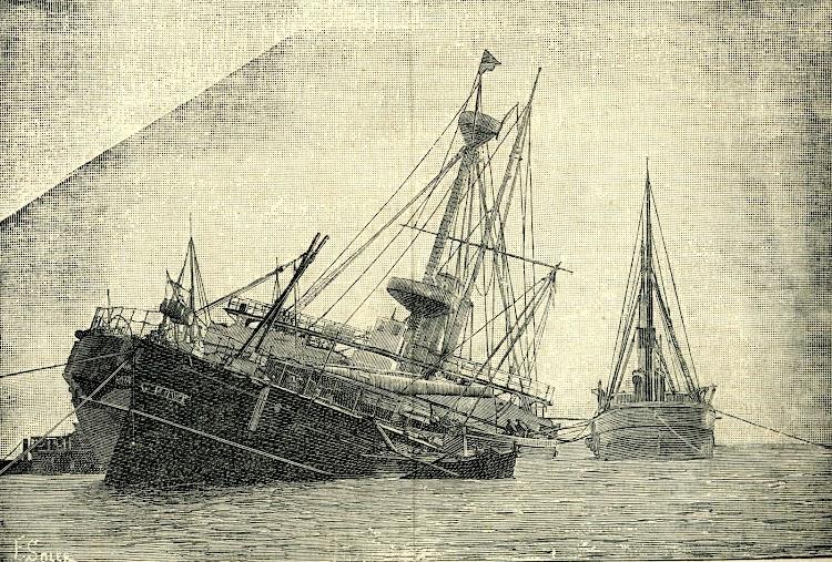 3- El HOWE varado en Ferrol. From the revue LA NATURALEZA. AÑO 1893.jpg