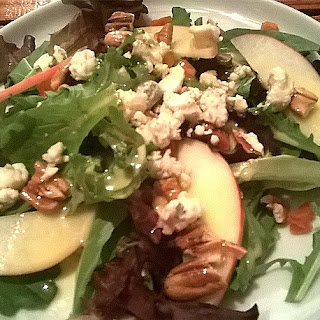 Apple, Apricot, Pecan Salad with Orange Vinaigrette and Gorgonzola crumbles