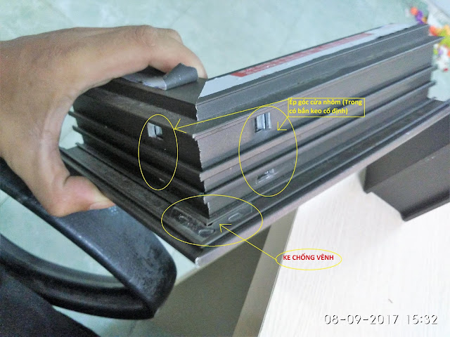Quy cách sản xuất phần góc của cửa nhôm XIngfa tiêu chuẩn