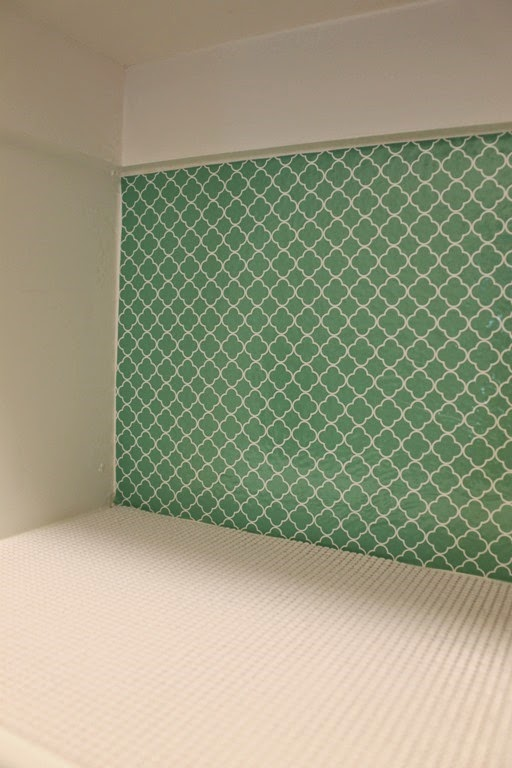 pantry organization with patterned vinyl