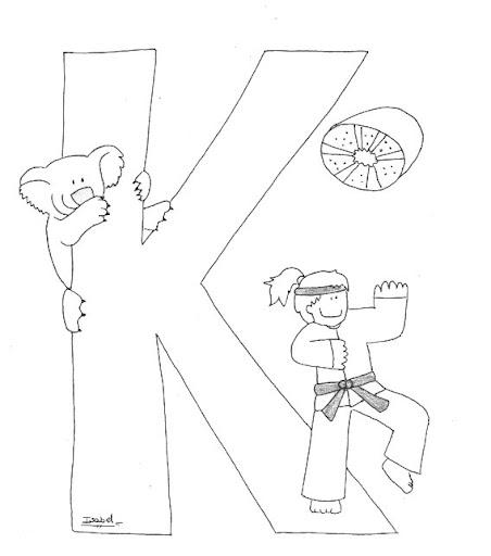 K Abecedario Profesiones Dibujalia Dibujos Para Colorear