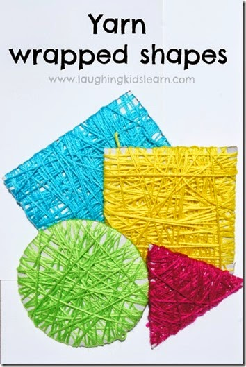 Yarn Wrapped Shape Craft for Toddler, Preschool and Kindergarten age kids! What a fun kids activity.