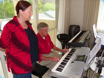 Annabelle Bramley watching-on whilst hubby, Michael, played and sang using the Yamaha PSR-910