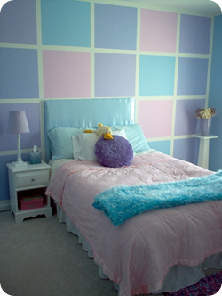 checkered wall with bright colors girls room