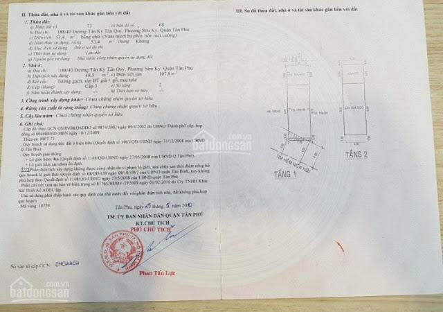 Bán nhà hẻm 188/40 Tân Kỳ Tân Quý Quận Tân Phú 2