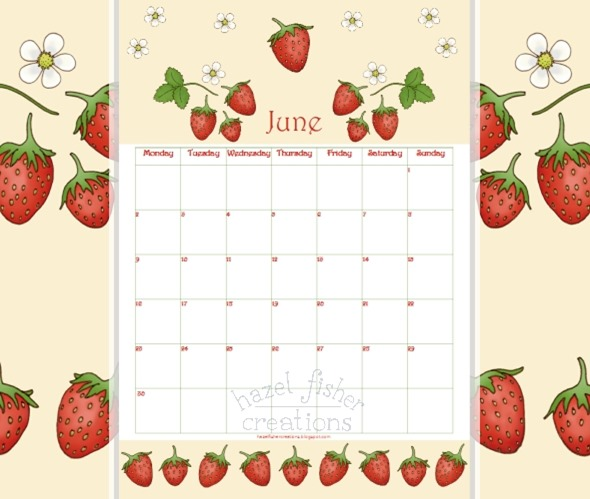 2014 June 02 free printable calendar strawberries