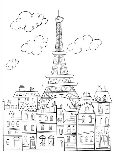 Eiffel Tower Coloring Page, HD Png Download , Transparent Png ...   640x477