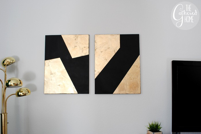 DIY Black & Gold Leaf Canvas Wall Art