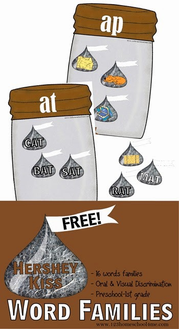 FREE Hershey Kiss Word Families activity will help kids in preschool, prek, kindergarten, and first grade practice hearing word families and sorting by similar ending sound. Great practice for reading and spelling. Perfect activity for summer learning, literacy centers, homeschooling, and extra practice with rhyming words
