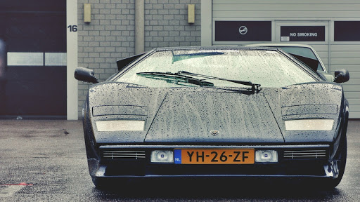 Black Lamborghini in Rain
