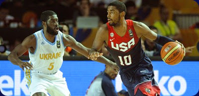 "US guard Kyrie Irving (R) vies with Ukraine's guard Eugene ""Pooh"" Jeter (L) during the 2014 FIBA World basketball championships group C match Ukraine vs USA at the Bizkaia Arena in Bilbao on September 4, 2014.  AFP PHOTO / ANDER GILLENEA"
