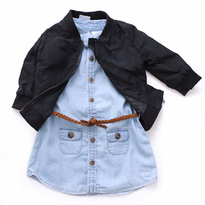 Team our new denim dress with our boys bomber for a cool fall look