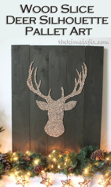 Pallet and wood deer silhouette