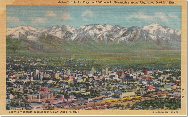 Salt Lake City and Wasatch Mountains, Looking East Postcard pg. 1