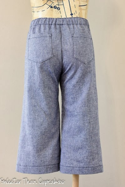 Chambray wide leg pants back