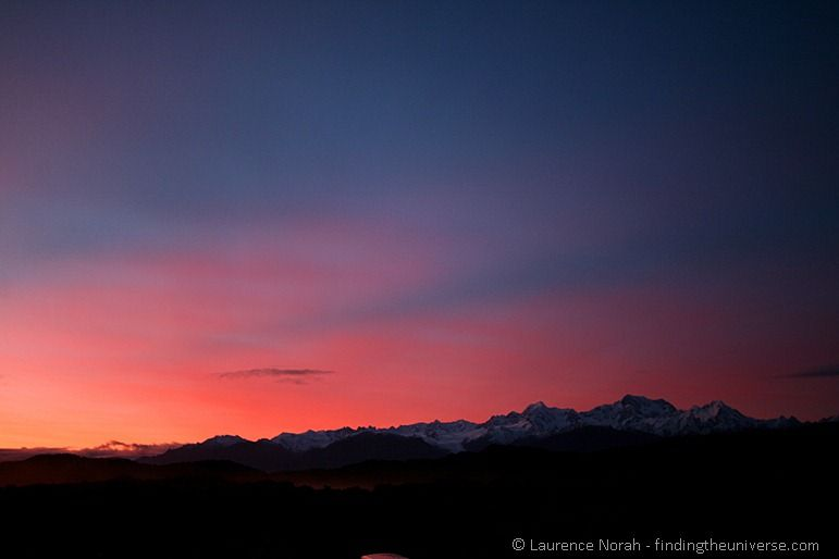 Sunrise over the Southern Alps