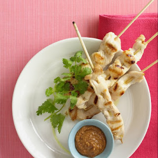 Chicken Satay with Peanut-Chutney Sauce.