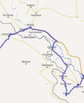 Harta cu traseu Uzbekistan