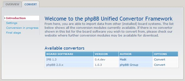 Tela de conversão do phpBB3.