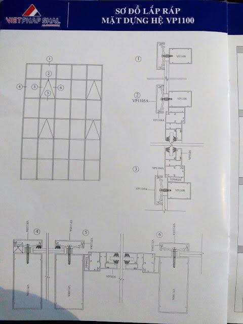 Sơ đồ lắp đặt mặt dựng nhôm Việt Pháp hệ 1100-01