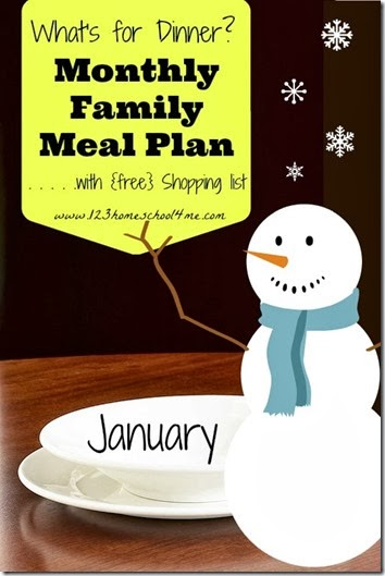 January monthly family meal plan with free shopping list