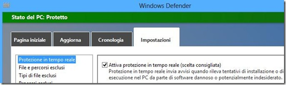 Windows Defender attiva la protezione in tempo reale