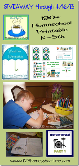 Enchanted Homeschooling Mom 190 printables Kindergarten through 5th Grade Review and Giveaway