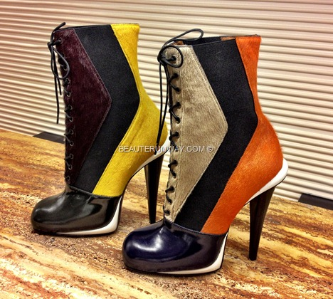 FENDI boots pony hair python calf leather laceup boots multi tone patent colourFall Winter 2012 2013 shoes heels ballet Collection BAGUETTE women's ready-to-wear, dress jacket bags shoe fur accessories