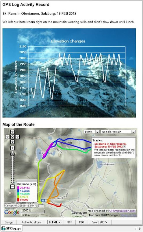 StyleVision HTML preview of report for ski trip