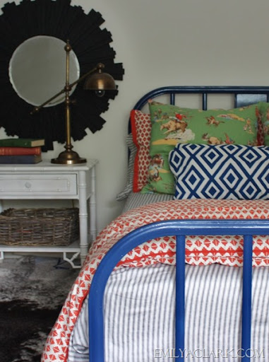 Boys Bedroom With Metal Bed