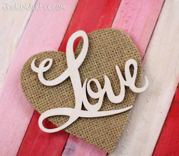 Burlap wood heart
