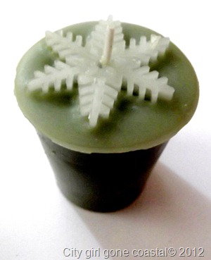 christmas tree scent snow flake candle