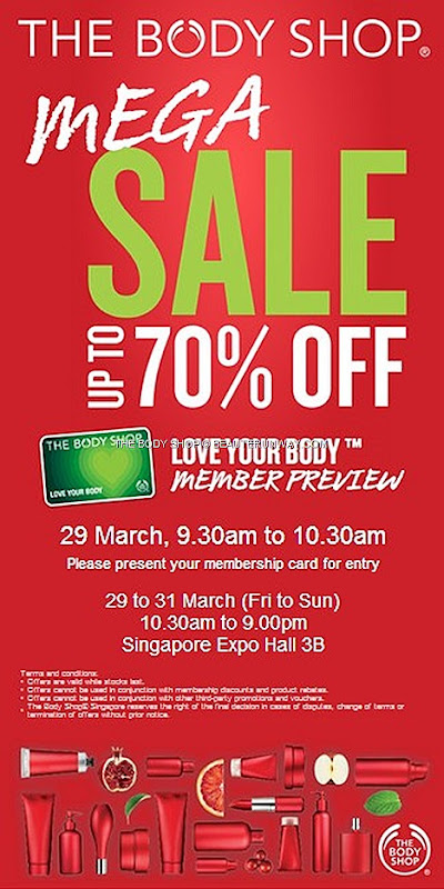 THE BODY SHOP SALE 2013 WAREHOUSE SKINCARE COSMETICS HAIR BODY CARE SINGAPORE EXPO 3B Love your Body Members Preview Showgel gel body butter lotion Vitamin C E Serum mask cleanser toner moisturiser Makeup