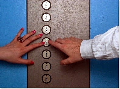elevator buttons in a hospital
