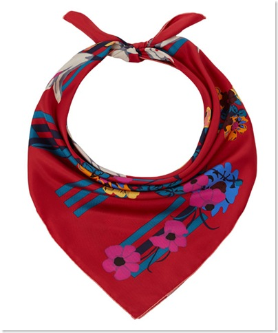 Red Floral Silk Scarf