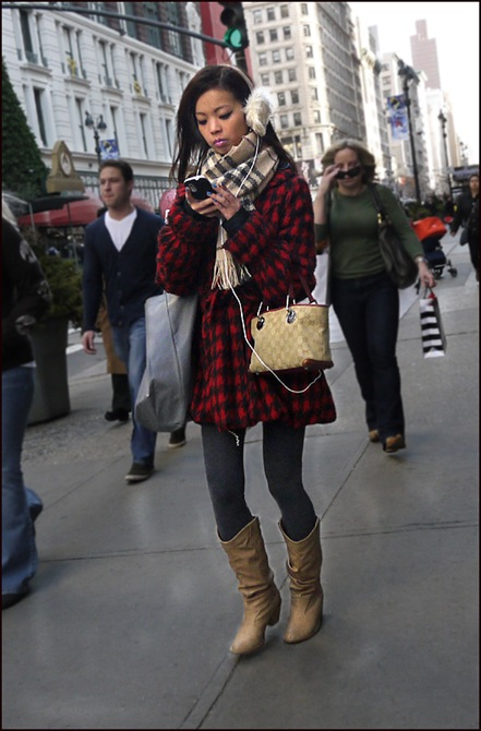 w red and black plaid coat fur ear muffs gucci bag grey tights tan plaid scarf ol