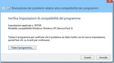 Compatibilità Windows 8 Testa il programma