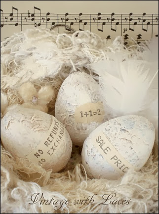 Altered Easter Eggs - Vintage with Laces