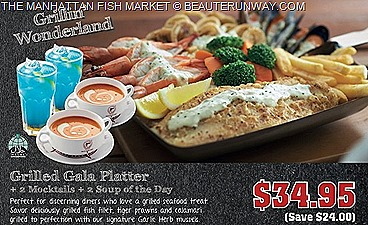MANHATTAN FISH MARKET 2013 1 FOR 1 OFFERS  Grilled Gala Platter Manhattan Flaming Seafood Platter Fried Giant Platter mocktails 2 Soup of the day SEAFOOD PLATTER DEALS