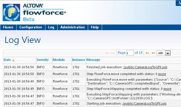 FlowForce Server job log