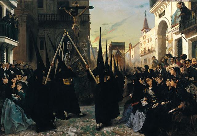 Museo Carmen Thyssen Málaga - Alfred Dehodencq - Una cofradía pasando por la calle Génova, Sevilla.jpg