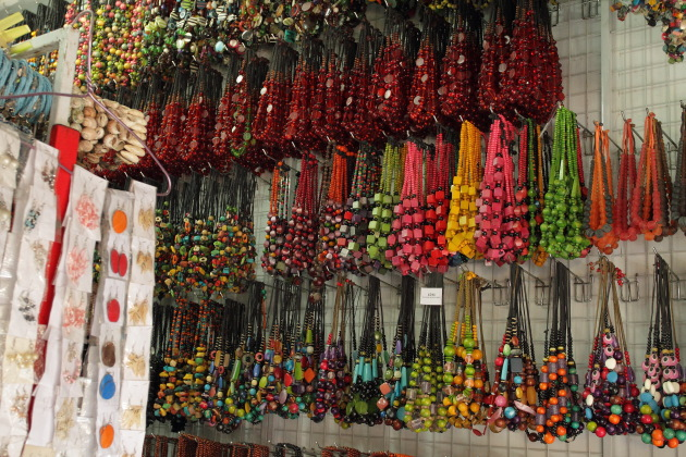 Bead Necklaces for sale in Sukowati Market, Bali