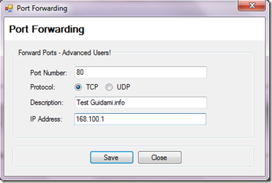 MyRouter Virtual WiFi Router Advance Settings>Add Port Forwarding