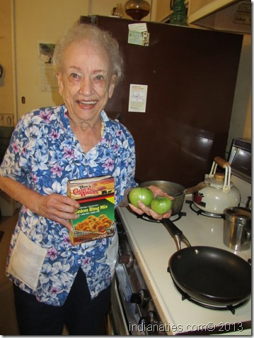 Peg Stull getting ready for some yummy Fried Green Tomatoes.