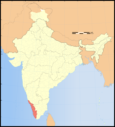 Kerala on a Map of India