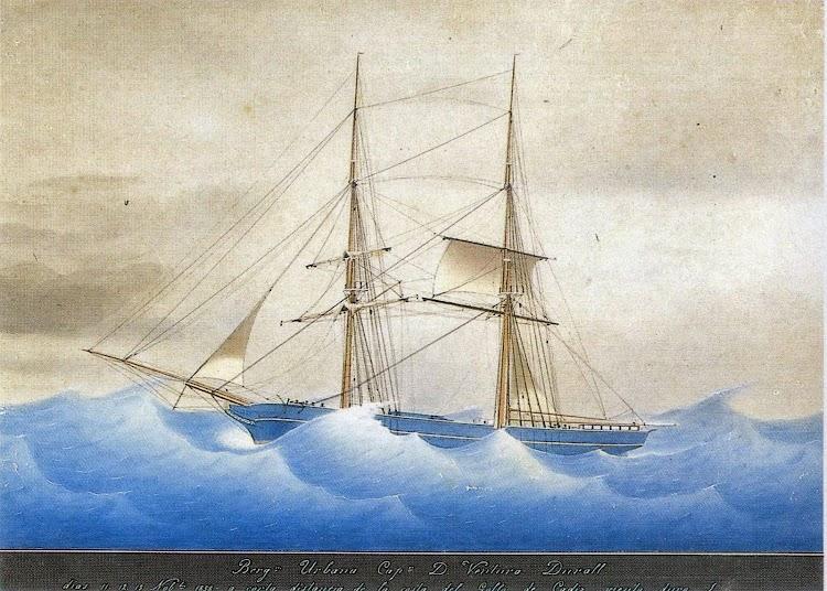 Bergantin URBANA capeando un temporal. Gentileza de la familia Durall Rafols. Del libro La Marina Mercant de Lloret de Mar. Segles XVIII i XIX.jpg